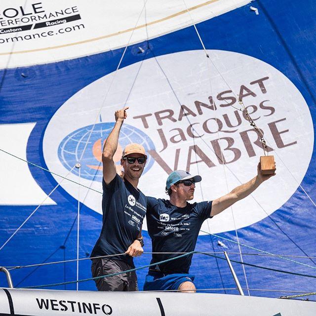 Le skipper Benjamin Dutreux à la fin de la Transat Jacques Vabre 2019 avec son coéquipier